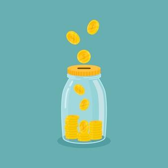 Банка с деньгами экономить деньги. сохранить ваши деньги концепции, изолированных на синем фоне.