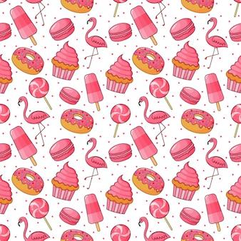 かわいいベーカリーとキャンディーのシームレスパターン。カフェやペストリーショップのデザート。イラストベクトル。