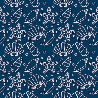 海の貝のシームレスパターン。水中の熱帯の貝