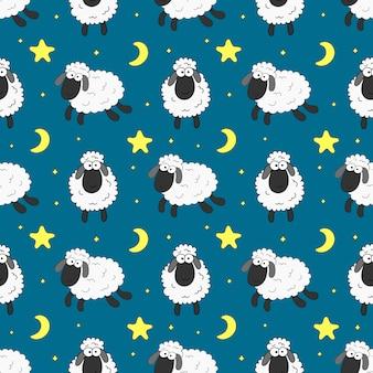 ファブリック、テキスタイル、紙、壁紙、ラッピングのためのシームレスな甘い夢羊面白い動物柄