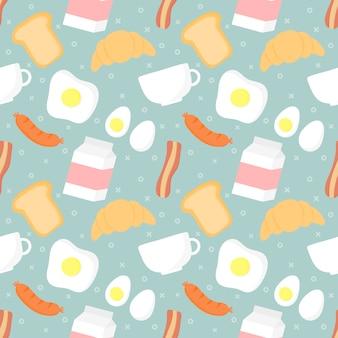 シームレスパターンの朝食の食べ物や飲み物