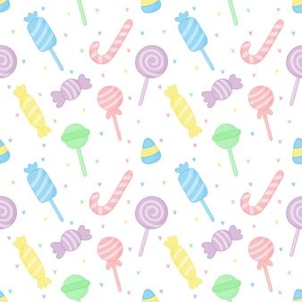 かわいいパステルキャンディー甘いデザートのシームレスパターン