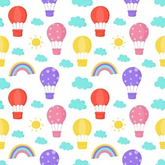 Бесшовные обои солнце, воздушный шар, радуга и облака обои