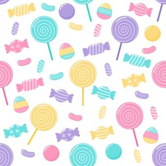 かわいいパステルキャンディ甘いデザートさまざまな種類のシームレスパターン