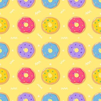 かわいいパステルドーナツ甘い夏のデザートさまざまな種類のシームレスパターン