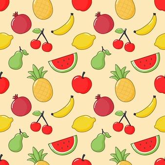 Бесшовные модели тропических фруктов. изолированные на крем