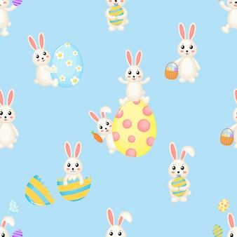 素敵なウサギのハッピーイースターかわいいシームレスパターン。バニーと卵。