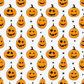 シームレスパターン漫画ハッピーハロウィンかぼちゃと白で隔離される星
