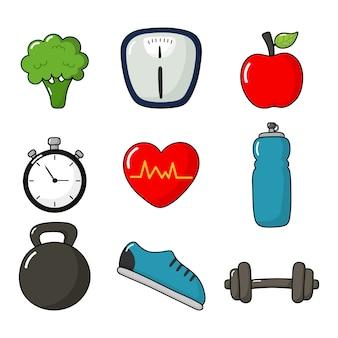 Фитнес иконки набор здорового образа жизни, изолированные на белом.