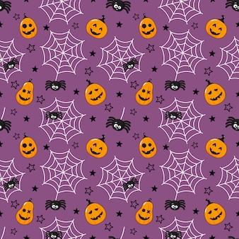 シームレスパターン漫画幸せなハロウィーン。クモ、クモの巣、カボチャが紫に分離されました。