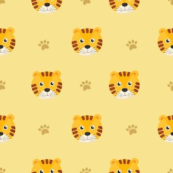子供のための漫画虎とかわいいのシームレスパターン。黄色の背景に動物。