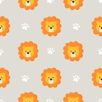 子供のための漫画の赤ちゃんライオンとかわいいのシームレスパターン。灰色の背景上の動物。