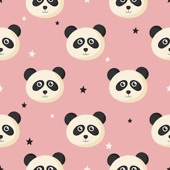 漫画の赤ちゃんパンダと子供のための星のかわいいシームレスパターン。ピンクの背景の動物。