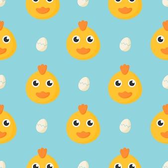 漫画の赤ちゃん鶏と卵の子供のためのかわいいシームレスパターン。青色の背景に動物。