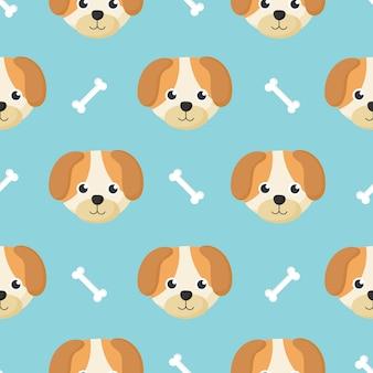 漫画の赤ちゃん犬と子供のための骨かわいいシームレスパターン。青色の背景に動物。