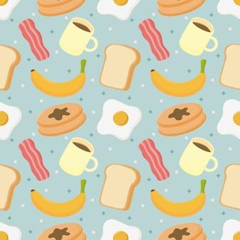 シームレスパターンの朝食。青色の背景に分離された食べ物や飲み物。