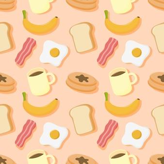 シームレスパターンの朝食。食べ物や飲み物はクリーム色の背景に分離されました。