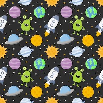 シームレスパターン漫画スペース。黒の背景に分離された惑星