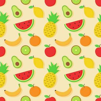 シームレスなトロピカルフルーツパターン