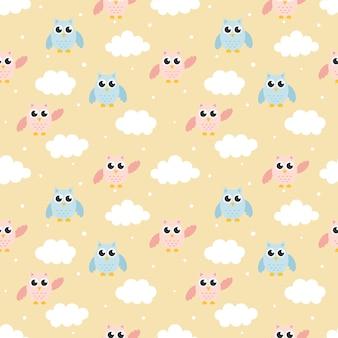漫画赤ちゃんフクロウとのシームレスなパターン