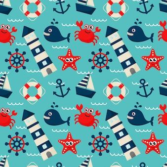Бесшовные шаблон морских иконок мультяшном стиле