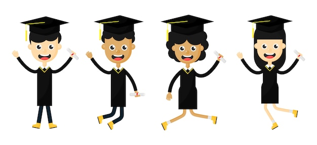 卒業式で幸せな子供たちのセット