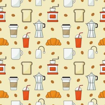 コーヒーショップアイコンセットオレンジとシームレスなパターン