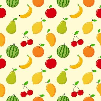 クリームに分離されたシームレスパターントロピカルフルーツ。