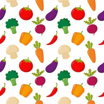 野菜のシームレスなパターン漫画のスタイルは、白で隔離。