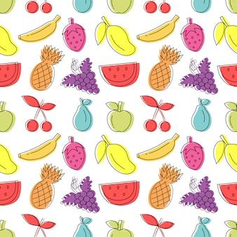 カラフルな手描きの背景が白のフルーツシームレスパターン。