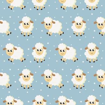 ファブリックの青色の背景にシームレスな甘い夢羊面白い動物パターン