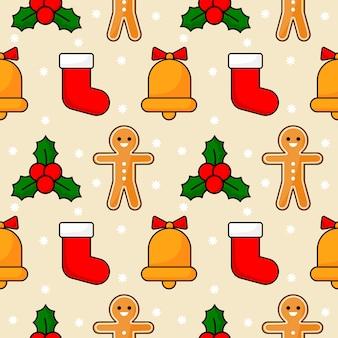 ベージュに分離されたクリスマスのシームレスパターン