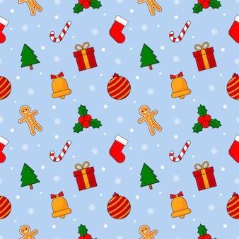 青に分離されたクリスマスのシームレスパターン