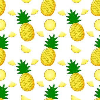 パイナップルシームレスパターンとスライス。夏の果物夏白い背景の上。