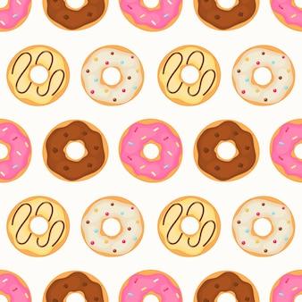 かわいいかわいいパステルドーナツ甘い夏のデザートのシームレスパターン