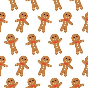 ジンジャーブレッド人クリスマスシームレスパターン。白い背景で隔離のクッキー。
