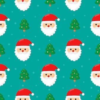 クリスマス青に分離されたサンタとのシームレスなパターン。