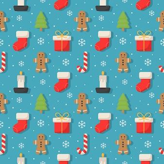 ブルーのクリスマス文字シームレスパターン。