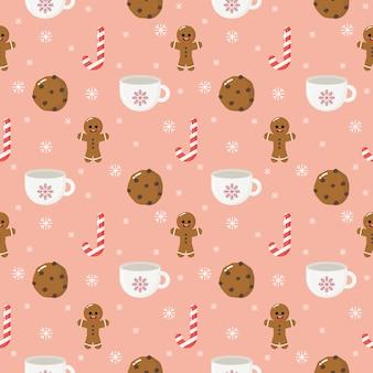 ピンクの背景に分離されたジンジャークッキークリスマスデザートシームレスパターン