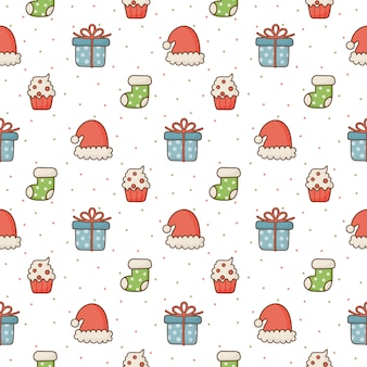 白い背景の上のクリスマスのシームレスパターン