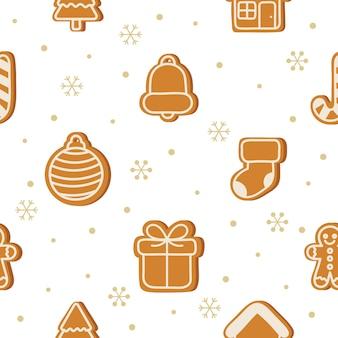 Имбирное печенье, рождественский десерт, бесшовный узор на белом