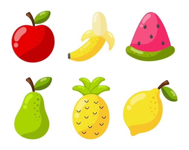 Набор тропических фруктов мультяшном стиле. изолированные на белом