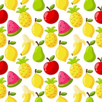 Бесшовные модели тропических фруктов, изолированных на белом.