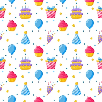 Празднование партии бесшовные модели. день рождения иконы. карнавальные праздничные предметы на белом.