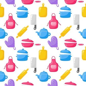 調理食品のシームレスなパターンとキッチンアウトラインカラフルなアイコンは、白い背景に設定します。