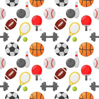 スポーツのシームレスなパターンアイコン