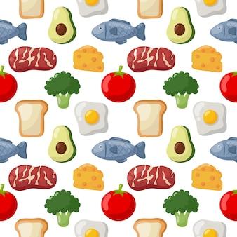 Бесшовные иконки продуктовые продукты питания на белом фоне.