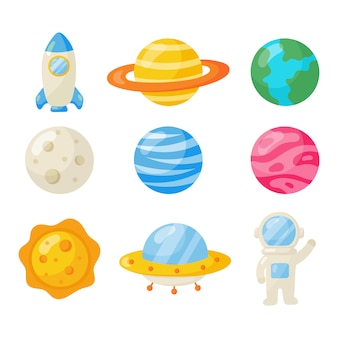 スペースアイコンのセット。惑星漫画のスタイル。孤立した
