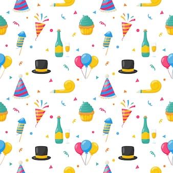 パーティーのお祝いのシームレスなパターン。誕生日のアイコン。カーニバルのお祝いアイテム。ベクトルイラスト。