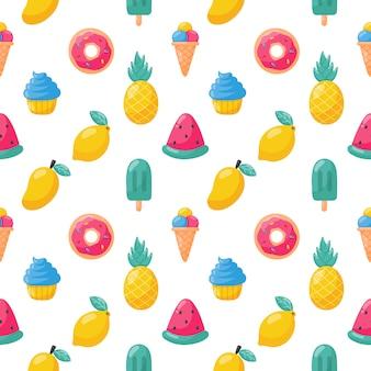アイスクリームのシームレスなパターンを持つかわいいトロピカルフルーツ。レモン、スイカ、パイナップル。夏の食べ物。イラスト。